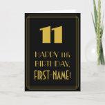 "[ Thumbnail: 11th Birthday ~ Art Deco Inspired Look ""11"" & Name Card ]"