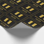 """[ Thumbnail: 11th Birthday ~ Art Deco Inspired Look """"11"""", Name Wrapping Paper ]"""