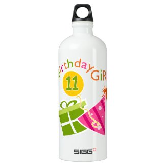 11th Birthday - Birthday Girl Aluminum Water Bottle