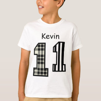 11th Birthday Black and White Custom Name V013A T-Shirt