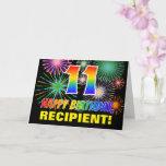 [ Thumbnail: 11th Birthday: Bold, Fun, Fireworks, Rainbow 11 Card ]