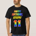 [ Thumbnail: 11th Birthday — Bold, Fun, Rainbow 11, Custom Name T-Shirt ]