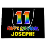 [ Thumbnail: 11th Birthday: Bold, Fun, Simple, Rainbow 11 Gift Bag ]