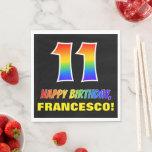 [ Thumbnail: 11th Birthday: Bold, Fun, Simple, Rainbow 11 Napkins ]