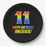 [ Thumbnail: 11th Birthday: Bold, Fun, Simple, Rainbow 11 Paper Plate ]