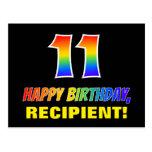 [ Thumbnail: 11th Birthday: Bold, Fun, Simple, Rainbow 11 Postcard ]