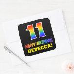 [ Thumbnail: 11th Birthday: Bold, Fun, Simple, Rainbow 11 Sticker ]