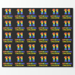 [ Thumbnail: 11th Birthday: Bold, Fun, Simple, Rainbow 11 Wrapping Paper ]