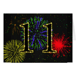 11th Birthday card with fireworks