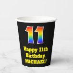 [ Thumbnail: 11th Birthday: Colorful, Fun, Exciting, Rainbow 11 ]