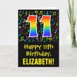 [ Thumbnail: 11th Birthday: Colorful Music Symbols + Rainbow 11 Card ]