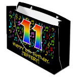 [ Thumbnail: 11th Birthday - Colorful Music Symbols, Rainbow 11 Gift Bag ]