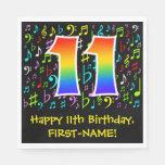 [ Thumbnail: 11th Birthday - Colorful Music Symbols, Rainbow 11 Napkins ]