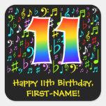 [ Thumbnail: 11th Birthday: Colorful Music Symbols, Rainbow 11 Sticker ]