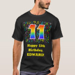 [ Thumbnail: 11th Birthday: Colorful Music Symbols, Rainbow 11 T-Shirt ]
