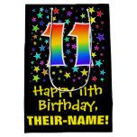 [ Thumbnail: 11th Birthday: Colorful Stars Pattern & Rainbow 11 Gift Bag ]