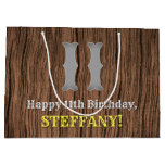 [ Thumbnail: 11th Birthday: Country Western Inspired Look, Name Gift Bag ]