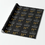 [ Thumbnail: 11th Birthday: Elegant, Black, Faux Gold Look Wrapping Paper ]