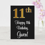 [ Thumbnail: 11th Birthday ~ Elegant Luxurious Faux Gold Look # Card ]