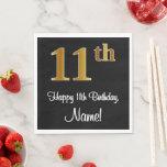 [ Thumbnail: 11th Birthday ~ Elegant Luxurious Faux Gold Look # Napkins ]