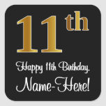 [ Thumbnail: 11th Birthday – Elegant Luxurious Faux Gold Look # Sticker ]
