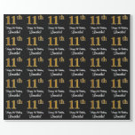 [ Thumbnail: 11th Birthday: Elegant Luxurious Faux Gold Look # Wrapping Paper ]