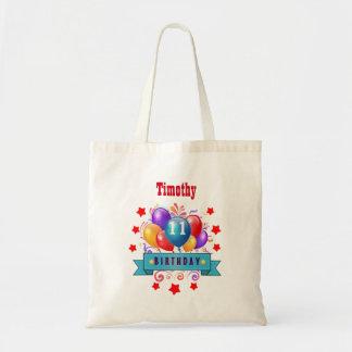 11th Birthday Festive Colorful Balloons B11AZ Budget Tote Bag