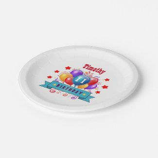 11th Birthday Festive Colorful Balloons B11AZ Paper Plate