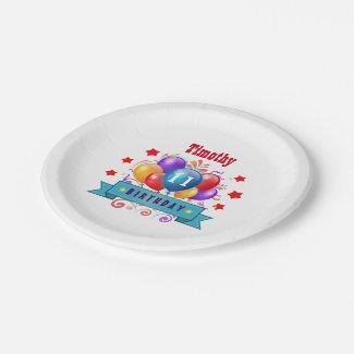 11th Birthday Festive Colorful Balloons B11AZ Paper Plate