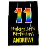 "[ Thumbnail: 11th Birthday: Fun, Bold, Colorful, Rainbow ""11"" Gift Bag ]"