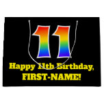 [ Thumbnail: 11th Birthday ~ Fun, Colorful, Vibrant, Rainbow 11 Gift Bag ]