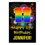 [ Thumbnail: 11th Birthday: Fun Fireworks Pattern & Rainbow 11 Card ]