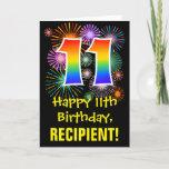 [ Thumbnail: 11th Birthday: Fun Fireworks Pattern + Rainbow 11 Card ]