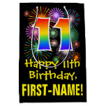[ Thumbnail: 11th Birthday: Fun Fireworks Pattern + Rainbow 11 Gift Bag ]