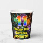 [ Thumbnail: 11th Birthday: Fun Fireworks Pattern + Rainbow 11 ]