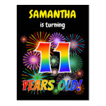 "[ Thumbnail: 11th Birthday - Fun Fireworks, Rainbow Look ""11"" Postcard ]"