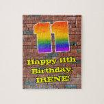 [ Thumbnail: 11th Birthday: Fun Graffiti-Inspired Rainbow 11 Jigsaw Puzzle ]