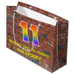 [ Thumbnail: 11th Birthday: Fun, Graffiti-Inspired Rainbow # 11 Gift Bag ]