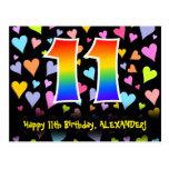 [ Thumbnail: 11th Birthday: Fun Hearts Pattern, Rainbow 11 Postcard ]