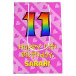 [ Thumbnail: 11th Birthday: Fun Pink Hearts Stripes; Rainbow 11 Gift Bag ]
