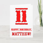 [ Thumbnail: 11th Birthday: Fun, Red Rubber Stamp Inspired Look Card ]