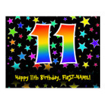 [ Thumbnail: 11th Birthday: Fun Stars Pattern, Rainbow 11, Name Postcard ]
