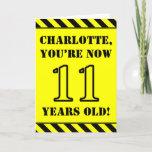 [ Thumbnail: 11th Birthday: Fun Stencil Style Text, Custom Name Card ]