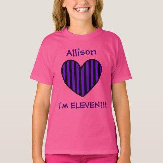 11th Birthday Gift Purple Striped Heart W06V T-Shirt