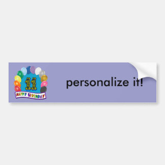 11th Birthday Gifts with Assorted Balloons Design Bumper Sticker