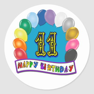 11th Birthday Gifts With Assorted Balloons Design Classic Round Sticker