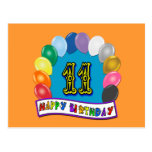 11th Birthday Gifts with Assorted Balloons Design Postcard