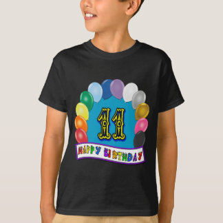 11th Birthday Gifts with Assorted Balloons Design T-Shirt