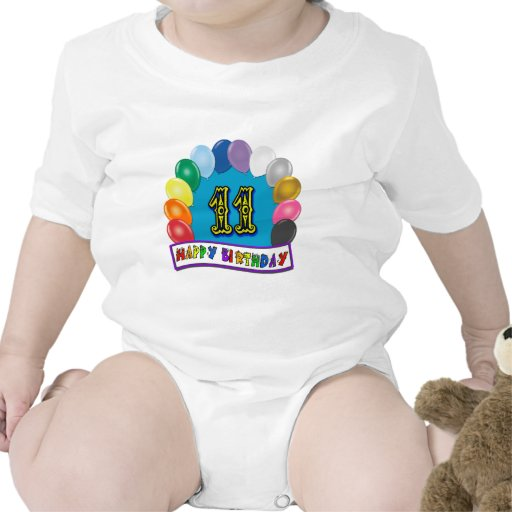 11th Birthday Gifts with Assorted Balloons Design Bodysuits