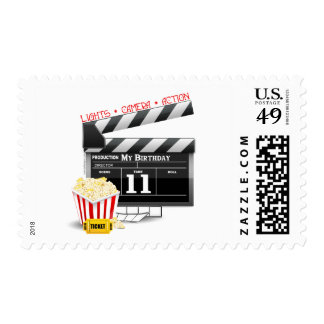 11th Birthday Hollywood Movie Theme Stamps